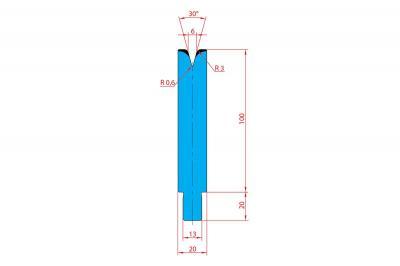 3236: Matrice Trumpf Wila V:6 à 30° R3 H: 100