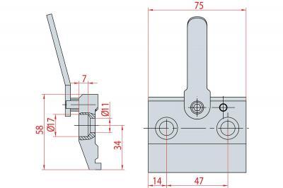 4007: Bride à levier H 58 mm, lg 75mm