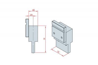 4228: Intermédiaire H 150, Axe à 20 mm, longueur 75 mm