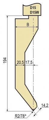 D15W: Poinçon 78° r1 h 194 mm