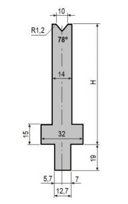V10-78: matrice V10 à 78°, H90 mm