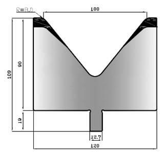 V100-78: matrice V100 à 78°, H90 mm