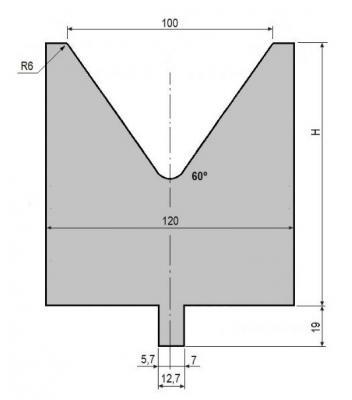 V100-60: matrice V100 à 60°, H130 mm