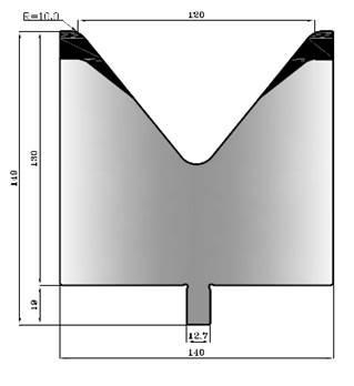 V120-78: matrice V120 à 78°, H90 mm