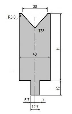 V30-78: matrice V30 à 78°, H90 mm
