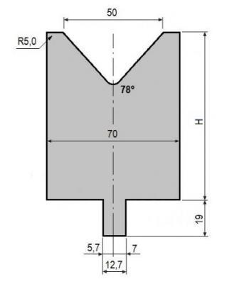 V50-78: matrice V50 à 78°, H90 mm