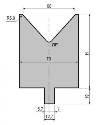 V60-78: matrice V60 à 78°, H90 mm