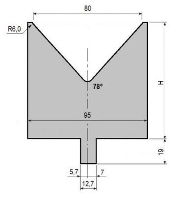 V80-78: matrice V80 à 78°, H90 mm