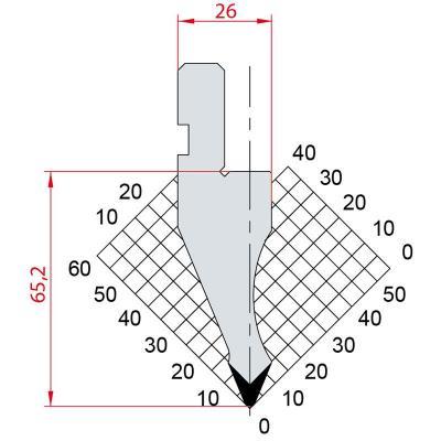 1025: Poinçon 45° r1.5 h65.2