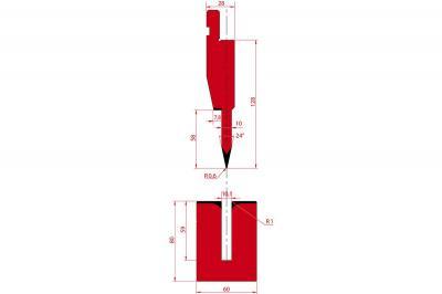 1196: Poinçon à écraser 26° r0.6 h128