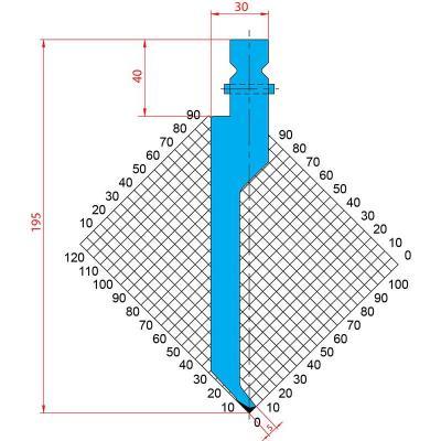 1234: Poinçon 86° r0.6 h 195mm
