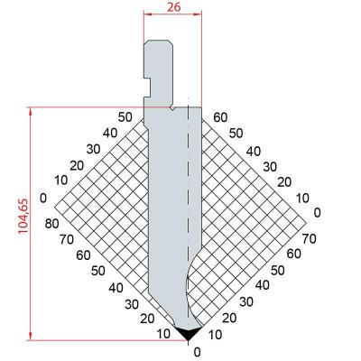 1281: Poinçon 85° r0.8 h 104.65