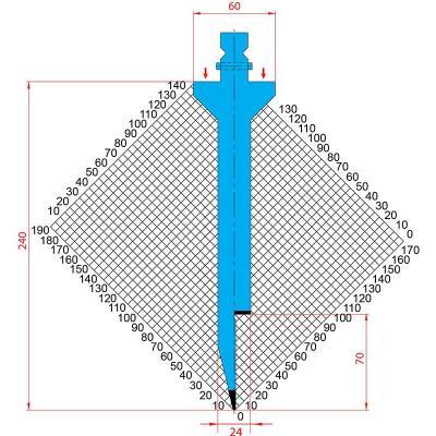 1295: Poinçon 28° r1 h 240mm