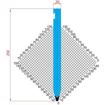 1300: Poinçon 30° r3 h250