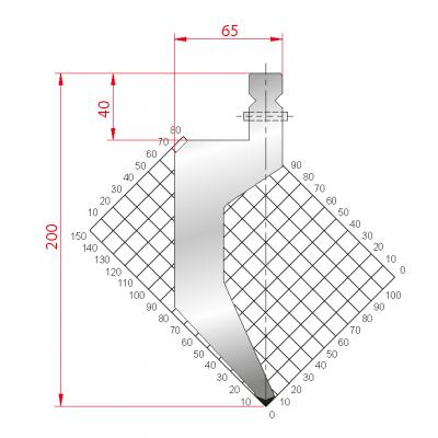 1320: Poinçon 86° r1.5 h 200mm