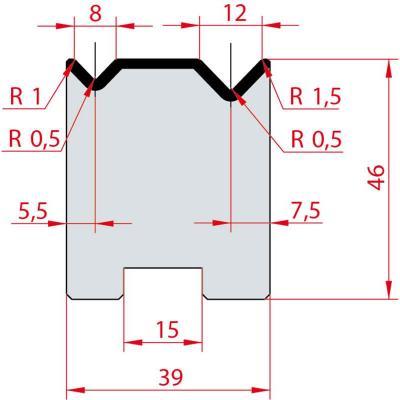 2052: Matrice Amada Promecam à 2V 88° autocentrée