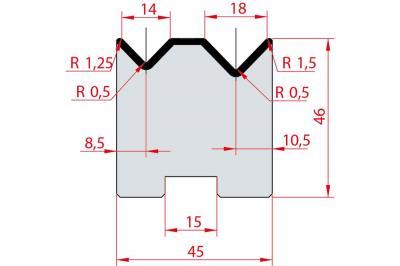 2053: Matrice Amada Promecam à 2V 88° autocentrée