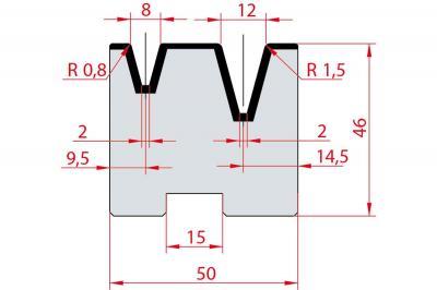 2056: Matrice Amada Promecam à 2V 30° autocentrée