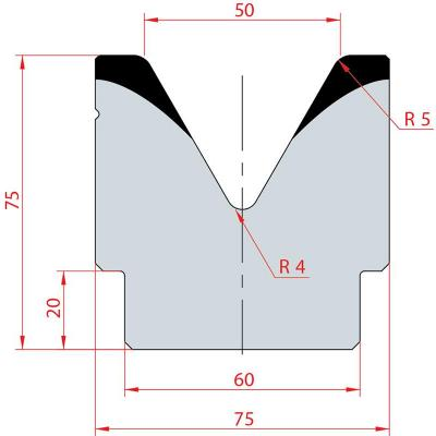 2082: Matrice acier C45 V:50 à 60° H:75