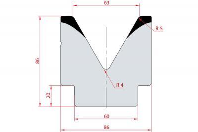 2083: Matrice acier C45 V:63 à 60° H:86