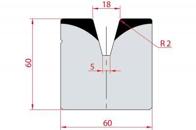 2086: Matrice acier C45 V:18 à 30° H:60