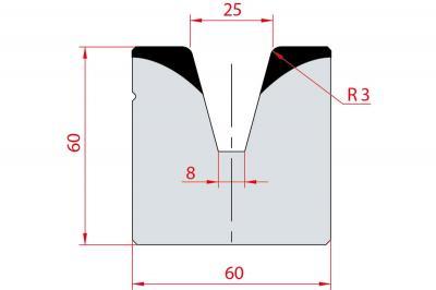 2087: Matrice acier C45 V:25 à 30° H:60