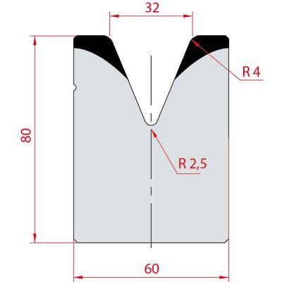 2088: Matrice acier C45 V:32 à 45° H:80