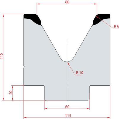 2089: Matrice acier C45 V:80 à 60° H:115