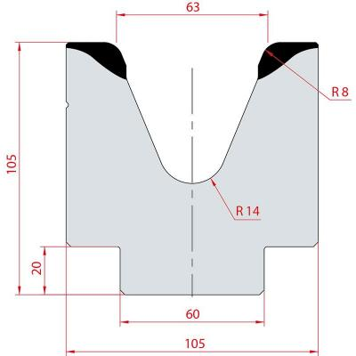 2117: Matrice acier C45 V:63 à 45° H:105
