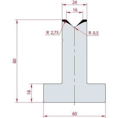 3016: Matrice en T acier C45 V:16 à 88° H:80