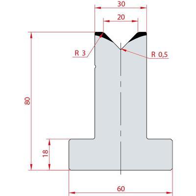 3017: Matrice en T acier C45 V:20 à 88° H:80