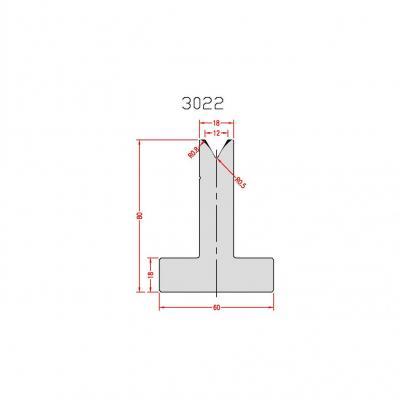 3022: Matrice en T acier C45 V:12 à 60° H:80