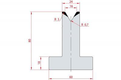 3023: Matrice en T acier C45 V:16 à 60° H:80