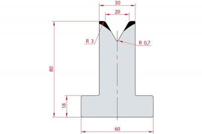 3024: Matrice en T acier C45 V:20 à 60° H:80