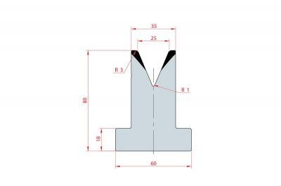 3032: Matrice en T acier C45 V:25 à 45° H:80