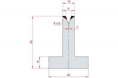 3043: Matrice en T acier C45 V:8 à 30° H:80