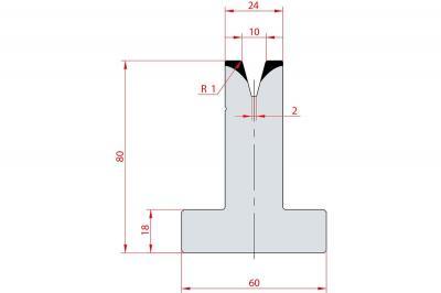 3044: Matrice en T acier C45 V:10 à 30° H:80