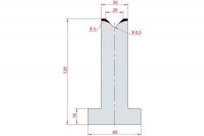 3057: Matrice en T acier C45 V:20 à 88° H:120