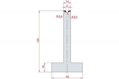 3059: Matrice en T acier C45 V:6 à 60° H:120