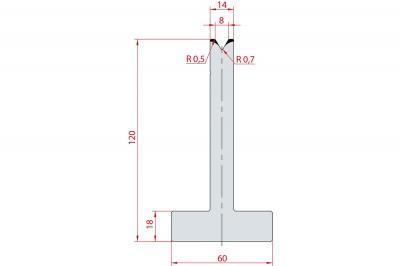 3060: Matrice en T acier C45 V:8 à 60° H:120