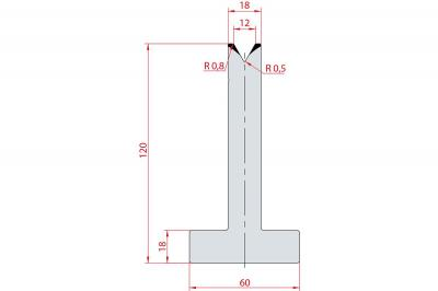 3062: Matrice en T acier C45 V:12 à 60° H:120