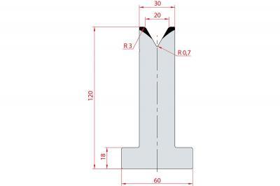 3064: Matrice en T acier C45 V:20 à 60° H:120