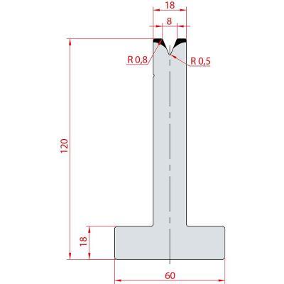 3067: Matrice en T acier C45 V:8 à 45° H:120