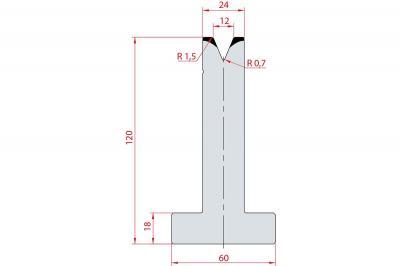 3069: Matrice en T acier C45 V:12 à 45° H:120