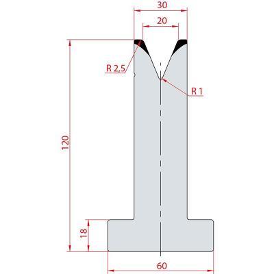 3071: Matrice en T acier C45 V:20 à 45° H:120
