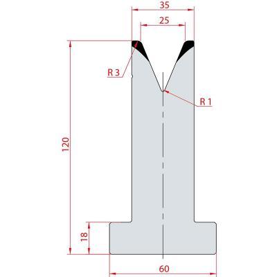 3072: Matrice en T acier C45 V:25 à 45° H:120