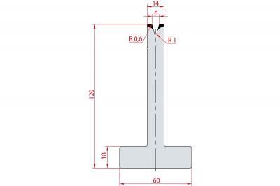 3073: Matrice en T acier C45 V:6 à 30° H:120