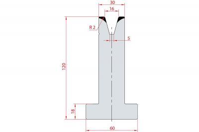 3077: Matrice en T acier C45 V:16 à 30° H:120