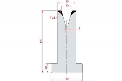 3078: Matrice en T acier C45 V:20 à 30° H:120