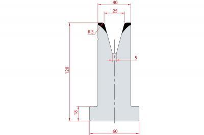 3079: Matrice en T acier C45 V:25 à 30° H:120